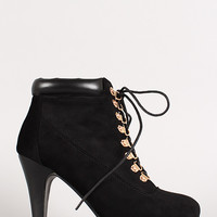 Solid Suede Lace Up Cushion Bootie