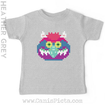 My Pet BABY T-SHIRT Tee TShirt Babies Girl Boy Nursery Shower Gift Whimsical Fun Movie TV Monster 8 Bit Pixel Geometric Grey Vintage Retro