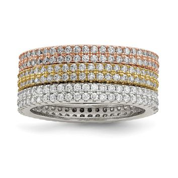 925 Sterling Silver White Yellow and Rose-tone Set of 3 Cubic Zirconia Eternity Rings