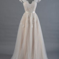 Cap Sleeve Alencon Lace Tulle Wedding Dress Bridal Gown Custom Size 2 4 6 8 10