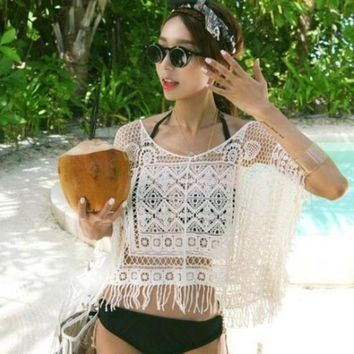 LMFGC3 2017 New Woman Swimsuit Cover-Ups Swimwear Dress Crochet See Through Sheer Sexy Womens Hollow Out Cropped White Free Shipping