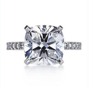 A Perfect 2.9CT Solitaire Cushion Cut Russian Lab Diamond Ring with Pave Diamond Accents