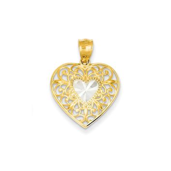 14k Yellow Gold & Rhodium Filigree Heart Pendant