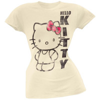 Hello Kitty - Distressed Big Kitty Juniors T-Shirt