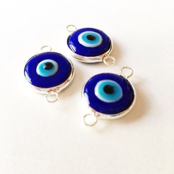 Two connectors glass evil eye charms, blue yellow turquoise evil eye pendants