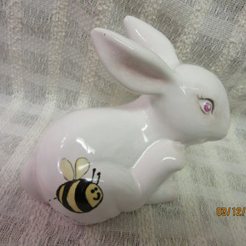 Easter Bunny Rabbit Bee Porcelain, Ceramics, Bee design Hand painted by B. Marsh