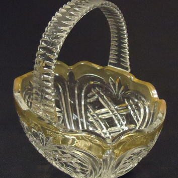 Designer Glass Basket 8in x 7in x 5in 11-113gb Vintage Glass Plastic Handle -- Used