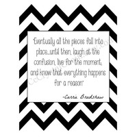 Black White Chevron Life- Wall Art - Home Vanity bedroom Modern bar cart decor - Digital Wall print- Carrie Bradshaw quote - on card stock