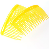Vintage Hair Comb Set, Sunny Lemon Yellow Celluloid, HONG KONG, 1970s Mid Century, Spring Summer Accessory Jewelry
