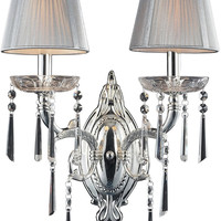 "0-024677>17""w Princess 2-Light Sconce Polished Silver"