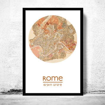 ROME - city poster - city map poster print