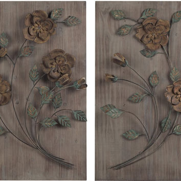 "0-012509>30""h Set of 2 Wooden Wall Panel with Handpainted Metal Flowers Natural Washed Wood"
