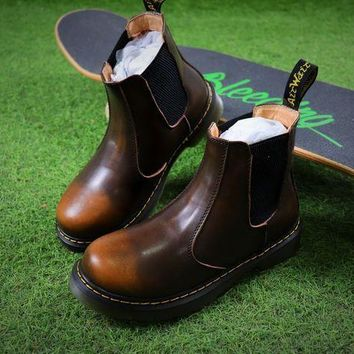 Newest Dr. Martens Brown Chelsea Boots 2976 Cashmere Inner - Beauty Ticks