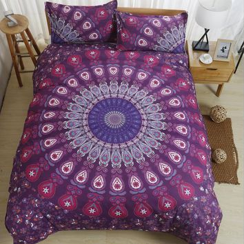 Purple blue Twin Full Queen/King Size Bohemia style 3pcs Bedding Set Bedclothes Duvet Cover Pillowcases bed linings