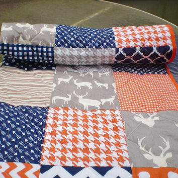 Modern Baby quilt,Navy,grey,orange,Patchwork crib quilt,woodland,rustic,baby boy or girl bedding,deer,organic,arrows,chevron,Orange Julius