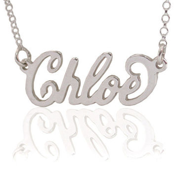 Name Necklace Personalized Message Pendant Sterling Silver 925 Carrie Style Customized Letters Chain Custom Made ANY NAME