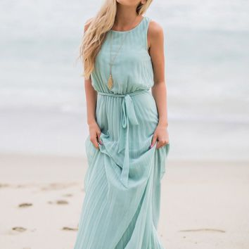Alina Mint Pleated Maxi Dress