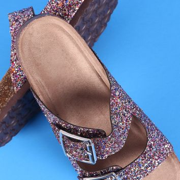 Glitter Double Buckle Strap Slide Sandal
