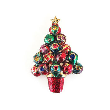 Christopher Radko Brooch, Christmas Tree, Christmas Ornament, Rhinestone Pin, Enamel, Red Green, Holiday Christmas Jewelry, Vintage Brooch