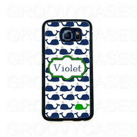 Personalized Samsung Galaxy S6 EDGE Case Rubber Preppy Whales Blue and Green