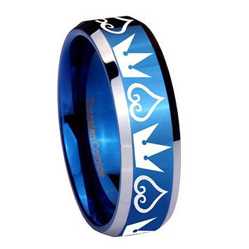 10mm Hearts and Crowns Beveled Edges Blue 2 Tone Tungsten Mens Promise Ring