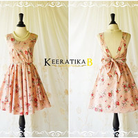 A Party Dress V Charming Dress Dusty Pink Rose Sundress Backless Prom Party Dress Wedding Bridesmaid Dress Pink Floral Cocktail Dress XS-XL