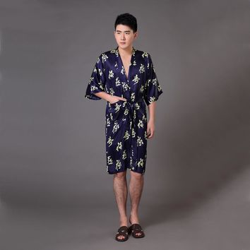 Plus Size XXXL Navy Blue Men Kimono Bath Gown Traditional Chinese Summer Silk Rayon Robe Vintage Print Sleepwear Pajamas MR017