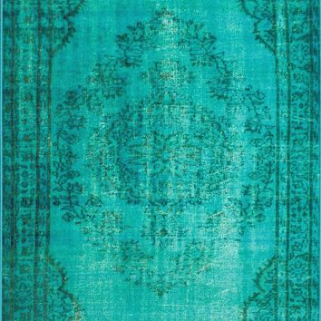 nuLOOM Machine Made Vintage Inspired Overdyed Rug Turquoise