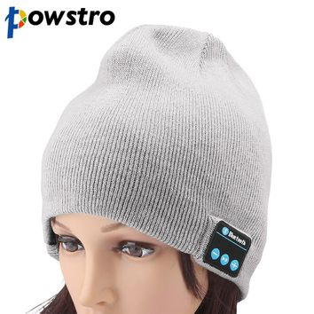 Powstro Wireless Smart Headphone Bluetooth 4.1 Warm Hat Music Built-in Mic Headset Speaker Warm Winter Knitting Hat Knit Cap