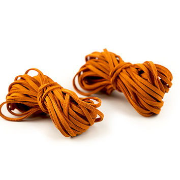 Faux Leather Cord, Orange, 6 Yds, 2 Pack