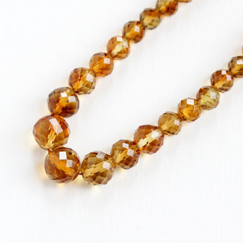 Vintage Art Deco Genuine Citrine Bead 14k White Gold Filigree Clasp Necklace - 1930s Graduated Yellow Orange Faceted Gemstone Fine Jewelry