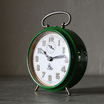 Large French Vintage Alarm Clock Bayard  Loft Deco Industrial Green