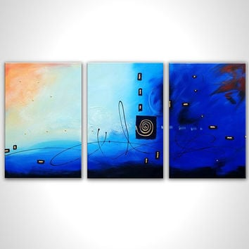 Blue oil painting - Blue abstract painting - Contemporary art - Blue painting - Blue art canvas - Large artwork - Blue artwork - 60