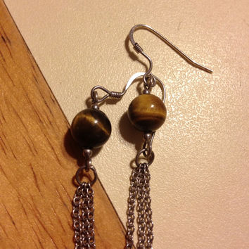 "Tigers Eye Sterling Earrings 3"" Silver 925 Tiger's Chain Boho Vintage Jewelry Brown Stone Boho Bridal Prom Tribal Southwestern Dangling Wire"