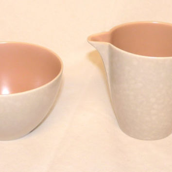 Poole Pottery Sugar Bowl and Creamer or Jug, pink and grey, Shrimp and Seagull, Twintone, Streamline, England