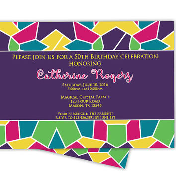 Stained Glass Invitation - Purple Womens Birthday Invitations -  50th 60th 70th 80th 90th Stars - Invitations for Woman Party - Ladies Night