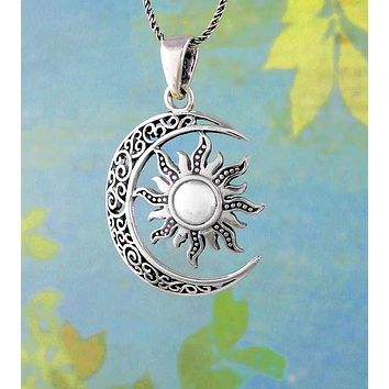 Filigree Crescent Moon With Dome Sun Necklace
