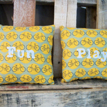 Bicycle Pillow- Throw Pillow- Decorative Pillow