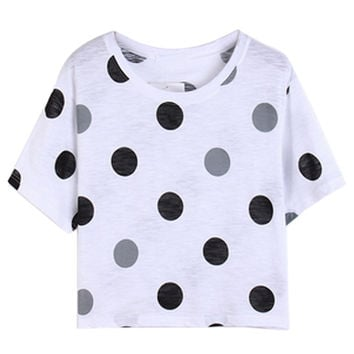 White Polka Dot Print Short Sleeve Crop Top