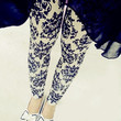 Design 308 - White and Blue Vintage Floral Leggings