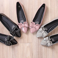 Womens Lovely Bow Ribbon Flats
