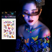 1 Sheet Luminous Temporary Tattoos Stickers Glow In the Dark Fluorescent Waterproof Butterfly Tattoo for Face Body Art #250133