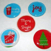 Christmas Themed Magnets, Set of 5