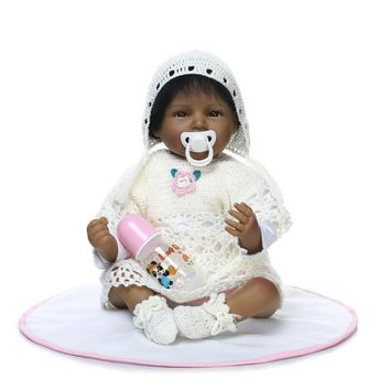 New Style 22 inchs 55 cm Silicone Reborn Dolls Handmade Realistic Baby Doll black colour Silicone Reborn cute Toys for children