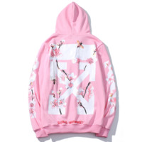 Off White New fashion letter floral print hooded long sleeve sweater pink