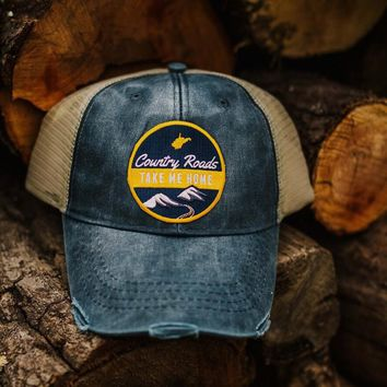 Distressed Country Roads Patch Trucker Hat