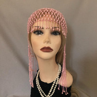 1920s style FULLY Beaded Light Pink Fringe FLAPPER Head cap skull headpiece Gatsby Roaring Twenties Art Deco Bead Tassel Headwear Headdress