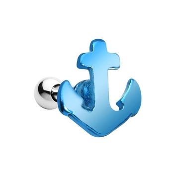 16 Gauge Brilliant Blue Nicely Nautical Anchor Cartilage Stud Earring