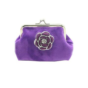 ONETOW Women Wallets Lady Flannel Retro Vintage Flower Small Wallet Hasp Purse Clutch Bag #LREW
