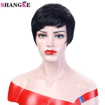 SHANGKE Hair Short Black Wigs Women Natural Straight Synthetic Wigs For Women Heat Resistant Female Hair Pieces